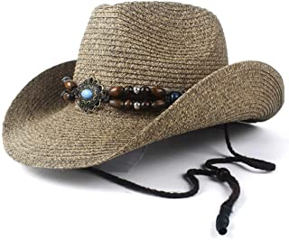 Fashion Hats, Caps,Elegant Hats, Natural Caps Straw Cowboy Hat Retro Women Men Hollow Western Cowboy Hat Lady Summer Straw Punk Sombrero Hombre Beach Cowgirl Jazz Sun Hat Size 57-59CM