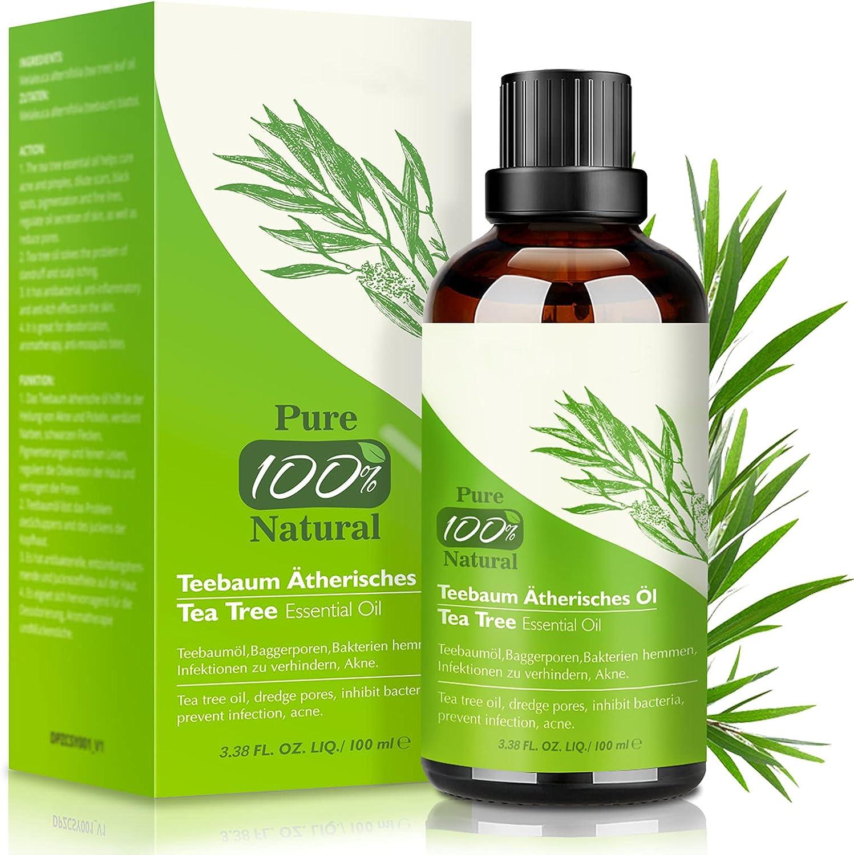 Aceite de Árbol de Té 100% Natural,100 ML Aceite Esenciale-Aceite de Acné,Tea Tree Oil Puro,Aceite Perfumado de Árbol de Té,Tratamiento Antiacné Contra la Piel y Cara con Imperfecciones,Antipi