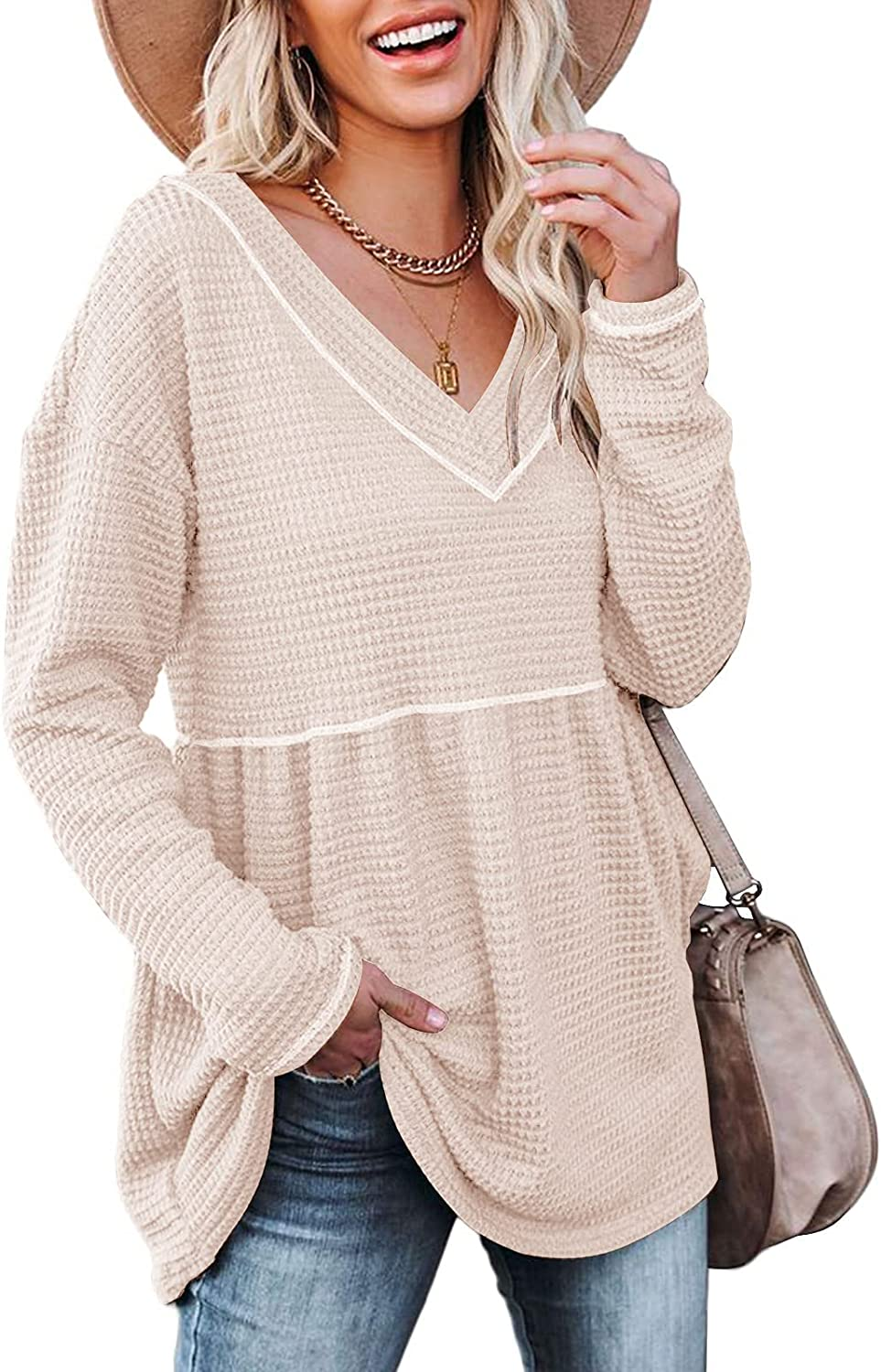ETCYY Women's V Neck Waffle Tunic Tops Long Sleeve Loose Casual Peplum Tops Babydoll Pullover Sweaters