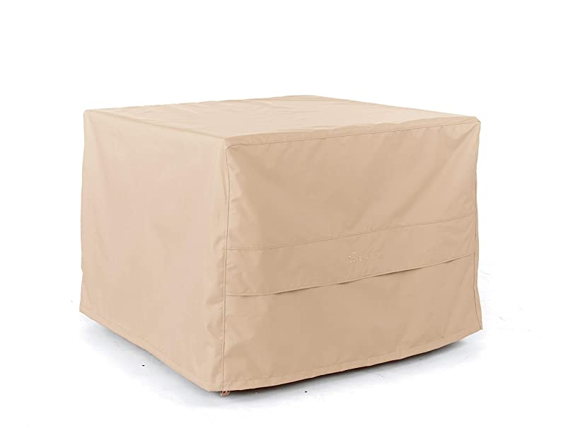 Covermates - Square Dining Table Cover - Fits 50 in Width, 50 in Depth and 20 in Height - Ultima Ripstop - 600D Fade Resistant Poly - Breathable Covered Ventilation - 7 Year Warranty - Ripstop Tan vvivcnvr449256