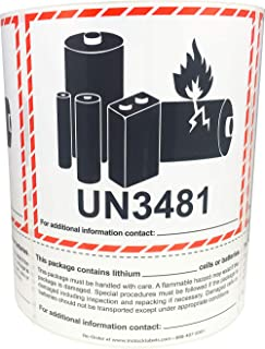 Caution Lithium Battery Labels UN3481 5 x 6.375 Inch 500 Adhesive Stickers