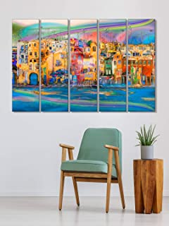999Store wall art wall panting Abstract modern city wall art panels hanging painting Set of 5 frames (130 X 76 Cm)