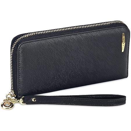 COCASES Geldbörse Damen mit RFID Schutz Portemonnaie Damen groß mit Schlaufe Schwarz