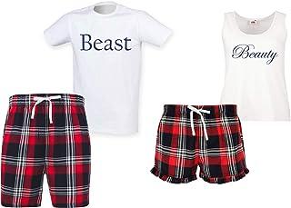 60 Second Makeover Limited Beauty Beast Couples Matching Pyjama Tartan Shorts Set Couples Dog Bulldog