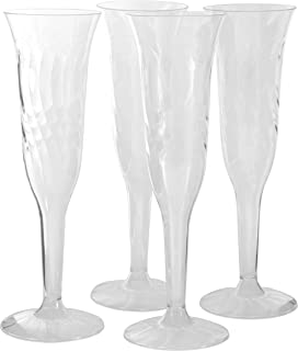 Plastic Champagne Flutes - 96 Pcs Fancy Crystal-Like 5.5oz Disposable Hard Plastic Clear Champagne Glasses – Bulk Party Supplies Cocktail Drinking Glass for Wedding, Birthday Parties & Other Occasions