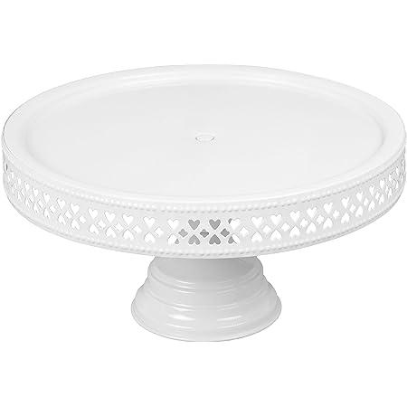 "Anushka Metals Non Revolving Cake Stand Pedestal 11"" Diameter (Top), Strong Metal (White)"