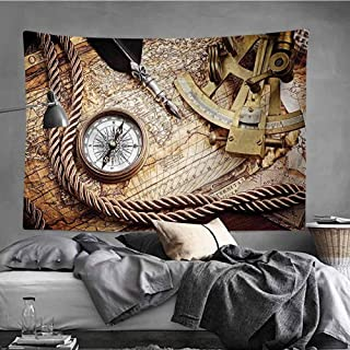 MikiDaHome Compass Psychedelic Tapestry Vintage Navigation Voyage Theme Lifestyle Image with Sextant and Compass Discovery Tools Wall Tapestry Wall Decor for Room Decoration, 60