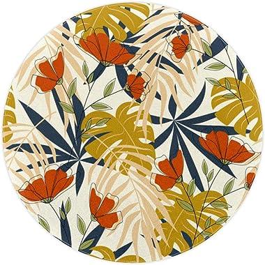TIZORAX Tapis de sol coloré avec feuilles de palmier et fleurs pour salon, chambre à coucher, chambre d'enfant ou chambre