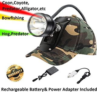 Coyote Hog Coon Hunting Headlamp, 4 LED Lighting Modes Rechargeable 6 Position Switch Multiple Colors (White Red Green Amber) Bracket Hat