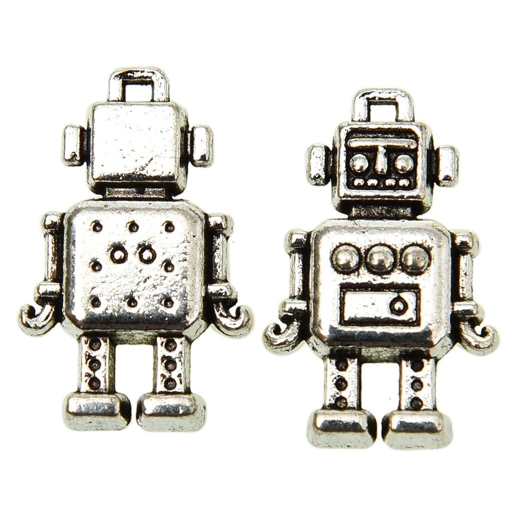 Monrocco 100 Pcs Tibetan Style Antique Silver Tone Mechanic Robot Charms Machine Toy Charms Pendant Bulk for Bracelets Necklace Jewelry Making