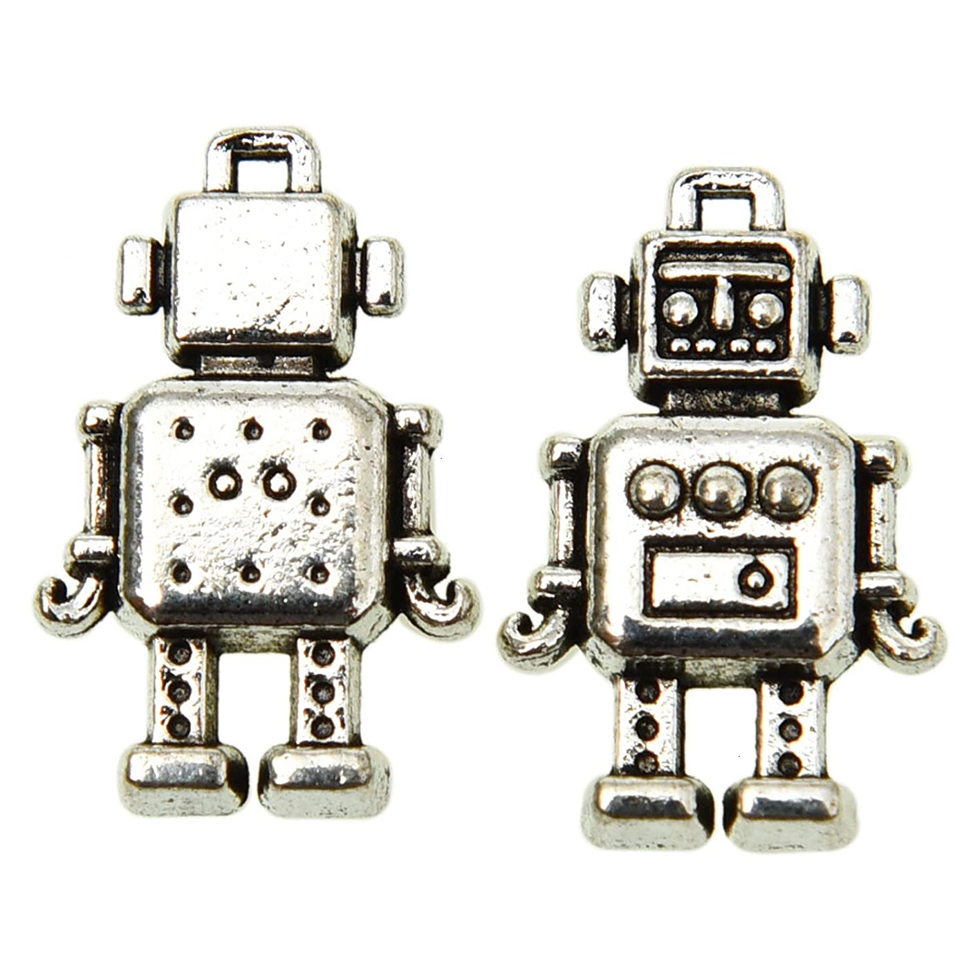 Monrocco 100 Pcs Tibetan Style Antique Silver Tone Mechanic Robot Charms Machine Toy Charms Pendant Bulk for Bracelets Necklace Jewelry Making buakgydxole811