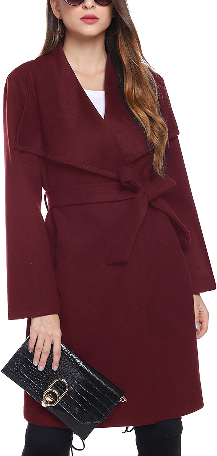 iClosam Womens Spring Peacoat Tie Front Oversized Long Jacket with Belt S-XXXL