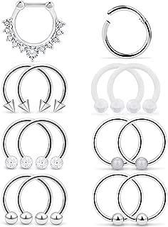 Yaalozei 6PCS-14PCS 16G Stainless Steel Septum Piercing Nose Rings Hoop Tragus Cartilage Retainer Body Piercing Jewelry