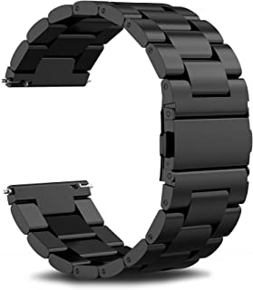 Infiland Gear S3 Frontier Band/Gear S3 Classic Band, Stainless Steel Metal Replacement Strap Wrist Band for Samsung Gear S3 Frontier/Gear S3 Classic (Not Fit Gear S2 & S2 Classic)- Black
