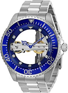 Invicta Men's Pro Diver Mechanical-Hand-Wind Watch with Stainless-Steel Strap, Silver, 22 (Model: 24693