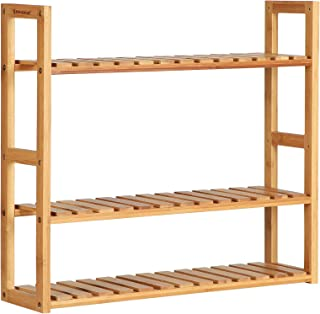 SONGMICS bamboo bathroom shelves, 3-Tier Adjustable Layer Rack, Bathroom Towel Shelf, Utility Storage Shelf Rack, Wall Mounted Organizer shelf, For Bathroom Kitchen Living Room Holder Natural UBCB13Y