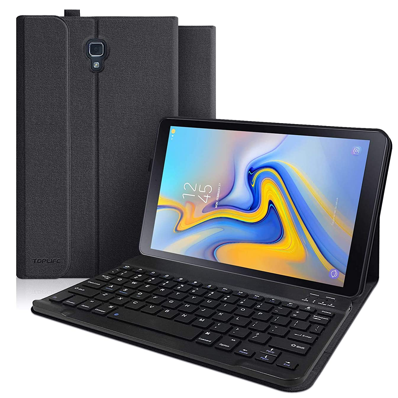 Keyboard Case for Samsung Galaxy Tab A 10.5 2018 Model SM-T590/T595/T597, Slim Multiple Angle Stand Cover with Detachable Wireless Bluetooth Keyboard for Galaxy 2018 Tab A 10.5 (Black)