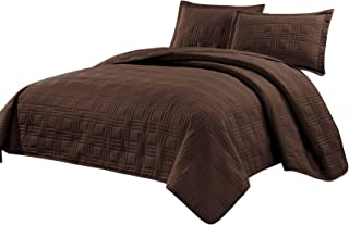 Fancy Collection 3pc Full/Queen Oversize Quilted Bedspread Coverlet Set Embroidery Solid Brown/Coffee New