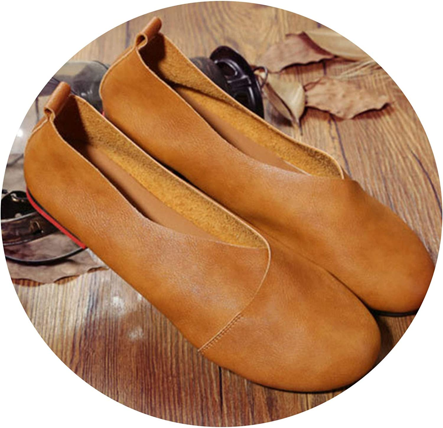 Don't mention the past 2019 Genuine Leather Flat shoes Woman Hand-Sewn Leather Loafers Cowhide Flexible Spring Casual shoes,Brown,8.5