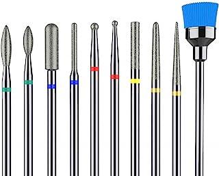 MelodySusie Diamond Cuticle Nail Drill Bits Set 10pcs, Professional Efile Nail Bit for Acrylic Gel Nails, Nail Art Tools f...