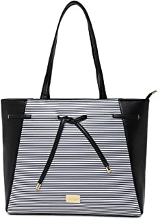 KLEIO Striped PU Leather Big Zipper Womens Tote Shoulder Travel Hand Bag Purse For College Office Ladies