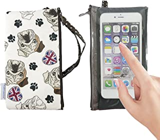 Tainada Smartphone Wallet Purse Pouch with Clear View Window Touch Screen & Neck Strap Lanyard for iPhone 11, 11 Pro Max, XR, Samsung S10+, Note 10+, Google Pixel 3, 3a XL, LG G8 (Bulldog White)