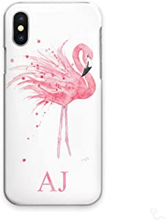 Personalized Initials Cell Phone Case for Samsung Galaxy S5 Mini, Watercolour Art Print, Pink Flamingo with Custom Pink Initials on Hard Cell Phone Cover