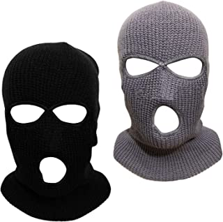 Alpurple 2 PCS 3-Hole Knitted Full Face Cover-Windproof Balaclava Ski Mask