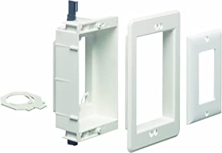 Arlington LVU1W-1 Recessed Low Voltage Mounting Bracket with Paintable Wall Plate, 1-Gang, White