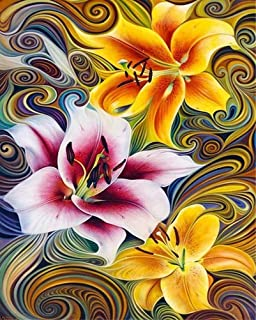 Diamond Painting by Number Kit, LPRTALK Adults Children 5D DIY Diamond Painting Full Round Drill Lillies Embroidery for Wa...
