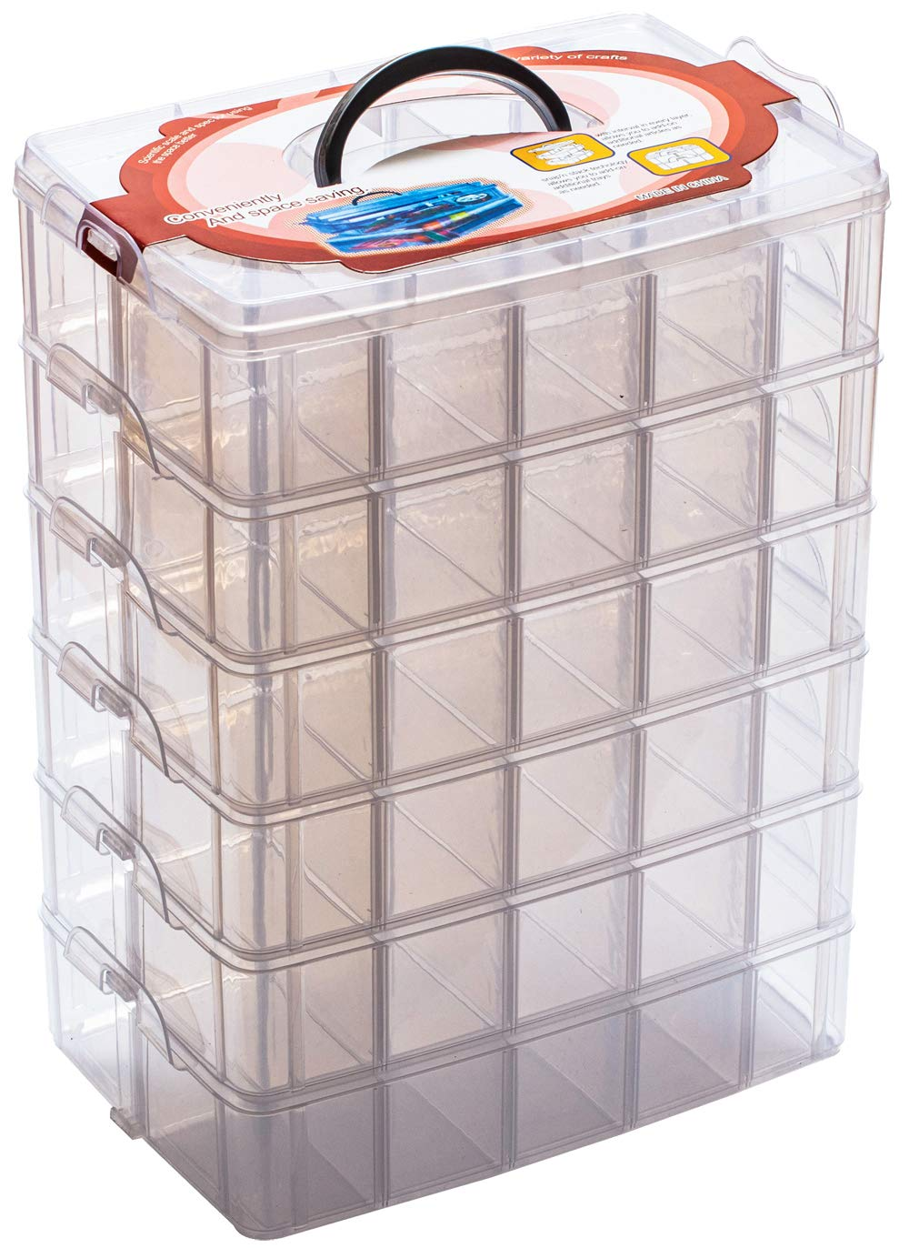 Sooyee 6 Layers Stackable Storage Container Clear 60 Adjustable Compartments,Compatible with Small Toys Arts and Crafts Piping Tips Hardware Storage Organizer