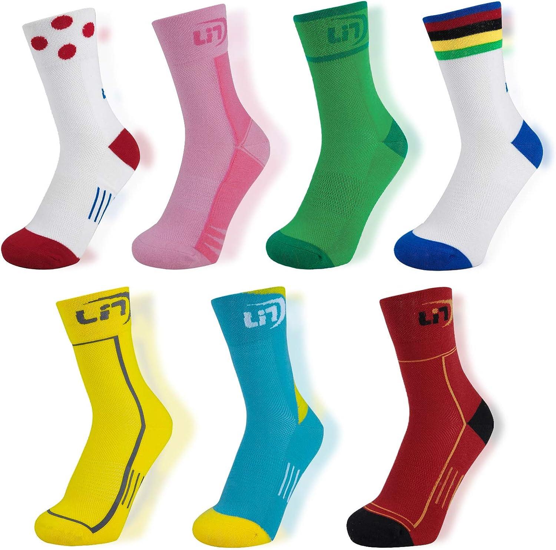 Lin 7 Pack Cycling Socks for Men and Women Funny Color Biking Socks Performance Athletic Crew Socks