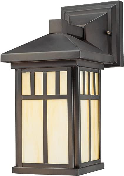 Westinghouse Lighting 6732800 Burnham One Light Exterior Wall Lantern On Steel With Honey Art Glass Oil Rubbed Bronze Finish 1 Pack