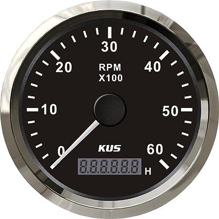 Kus Drehzahlmesser Drehzahlmesser Mit Betriebsstundenzähler 6000rpm 85 Mm 12v 24v Mit Hintergrundbeleuchtung Schwarz Auto
