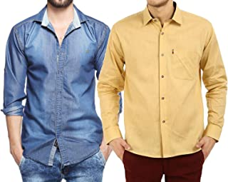 Finerbeast Cavender Combo Denim with Beige Cotton Casual Shirt