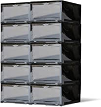 SneakNeat Sneaker Storage Container - 10-Piece Black Shoe Box Set with Drop Front - Store Up to Mens USA Size 13 Size - Stackable Organizer Stores, Protects, Displays Sneakers Collection