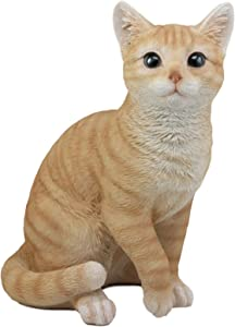 "Ebros Lifelike Sitting Orange Tabby Cat Statue 12"" Tall with Glass Eyes Hand Painted Realistic Feline Cat Decor Figurine Cats Kittens Kitties Animal Pet Sculpture"