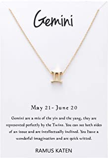 RAMUS KATEN 12 Constellation Pendant Necklace Astrology Gold Tone Chain with Message Card