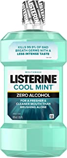 Listerine Zero Alcohol Mouthwash, Less Intense Alcohol-Free Oral Care Formula for Bad Breath, Cool Mint Flavor, 500 ml (Pack of 6)