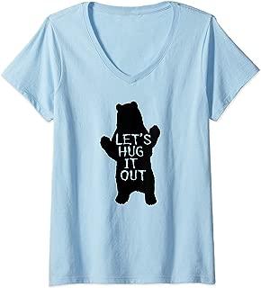 Womens Let's Hug It Out T-shirt Funny Bear Hug V-Neck T-Shirt
