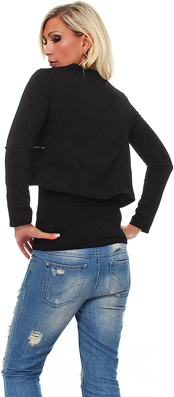 Fashion4Young 10256 Damen Kurzjacke Blazer Jäckchen Jacke Kurze Bolero-Design verfügbar in 7 Farben Schwarz