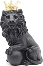 H&W 9''H Lion Crown King Sculpture Home Decor Ornament, Animal Statue Statues, Abstract Figurine Business Gift (Black Stand)
