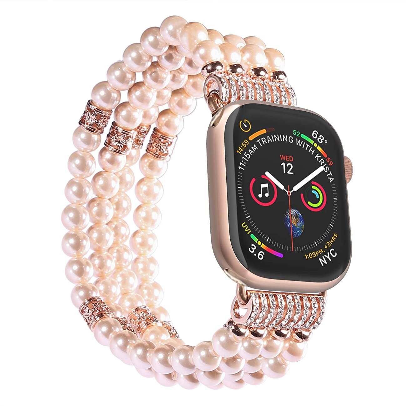 Imymax Replacement for Apple Watch Band 38mm/40mm Handmade Beaded Elastic Stretch Faux Pearl Bracelet Replacement iWatch Strap/Wristband for iWatch Series 4/3/2/1 - Pink for Women Girl