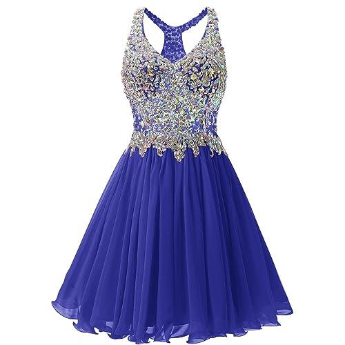 Bridesmay Short Chiffon Prom Homecoming Dress Beading Evening Party Dress