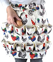 BRKURLEG Chicken Egg Gathering Collecting Apron Chicken Rooster Print Gathering Egg Holder Apron for Collecting Hense Eggs,Duck/Teal/Goose/Chicken Egg