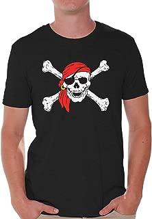 Men's Jolly Roger Skull & Crossbones T Shirts Tops Pirate Flag T Shirts Tops