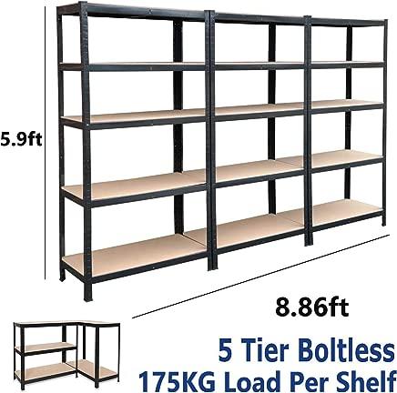 dicn 180x90x40cm  Black Tier Shelving Rack 3-Unit  175kg Capacity Per Shelf  Boltless Freestanding Shelves for Garage Home Storage Shed Warehouse