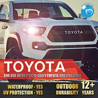 [Gloss Super White] Vinyl Decals Front Grill Sticker for Tacoma TRD PRO Grille Letters 2016 2017 2018 (Part Number PT228-35171)