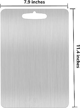 "YEAVS Stainless Steel Cutting Board for Kitchen Heavy Duty Chopping Board(Medium, 11.4""L x 7.9"" W)"