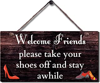 SAC SMARTEN ARTS Rustic Wood Sign Wall Hanging Plaque Vintage Take Off Shoe Wall Sign Size 11.5